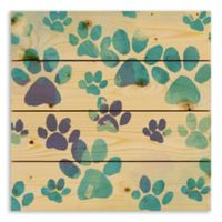 Designs Direct Watercolor Paw Prints 14-Inch Square Pallet Wood Wall Art