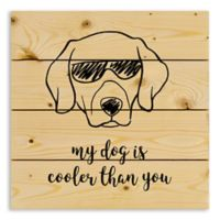 "Designs Direct ""My Dog is Cooler Than You"" 14-Inch Square Pallet Wood Wall Art"