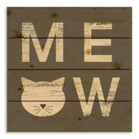 "Designs Direct ""Meow"" 14-Inch Square Pallet Wood Wall Art"
