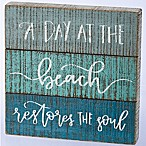 Primitives by Kathy Day at the Beach 12-Inch Square Wooden Box Sign