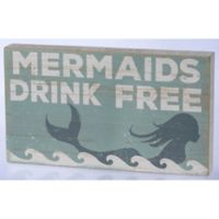 """Primitives by Kathy """"Mermaids Drink Free"""" 14-Inch x 8-Inch Wooden Box Sign"""