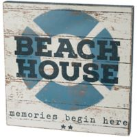 Primitives by Kathy Beach House Memories 18-Inch Square Wooden Box Sign