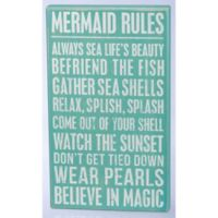 Primitives by Kathy Mermaid Rules 10-Inch x 17-Inch Wooden Box Sign