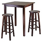 Windsome Trading Parkland 3-Piece High Table Set with Stools in Antique Walnut