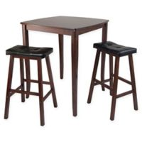 Windsome Trading Inglewood 3-Piece Dining Set with Cushioned Saddle Stools in Walnut/Black