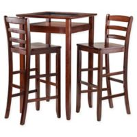 Winsome Halo 3-Piece High Dining Set in Walnut