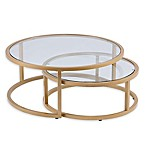 Southern Enterprises Evelyn 2-Piece Cocktail Table in Gold