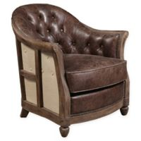 Pulaski Leather Tufted Accent Chair in Brown