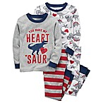carter's® Size 6M 4-Piece Red Heart Dinosaur Pajama Set in Red/Grey