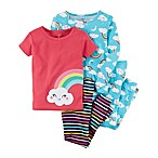 carter's® Size 12M 4-Piece Rainbow and Stripes Snug-Fit Pajama Set