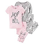 carter's® Size 9M Bunny  Hop to Bed  4-Piece Pajama Set in Pink/Grey