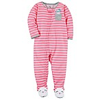 carter's® Size 12M Zip-Front Striped Mouse Footie in Pink