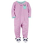 carter's® Size 12M Striped Panda Zip-Front Footie in Purple