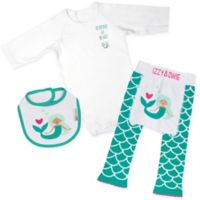 Izzy & Owie Size 0-6M 3-Piece Mermaid Long Sleeve Bodysuit, Legging and Bib Set in Aqua