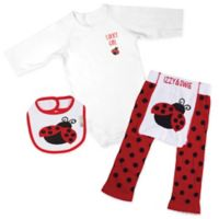 Izzy & Owie Size 12-24M 3-Piece Lady Bug Long Sleeve Bodysuit, Legging and Bib Set in Red