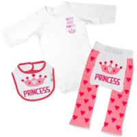 "Izzy & Owie Size 12-24M 3-Piece ""Princess"" Long Sleeve Bodysuit, Legging and Bib Set in Pink"