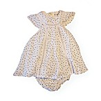 Jessica Simpson Size 6-9M 2-Piece Salt Dot Trim Dress and Diaper Cover Set in Cream
