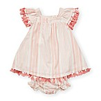 Jessica Simpson Size 24M 2-Piece Striped Tassel Trim Dress and Diaper Cover Set in Pink