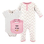 Hudson Baby® Size 0-3M 3-Piece Heart Coverall, Bodysuit, and Bib Set in Pink