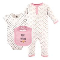Hudson Baby® Size 9-12M 3-Piece Heart Coverall, Bodysuit, and Bib Set in Pink