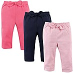 Hudson Baby® Size 0-3M 3-Pack Waist-Bow Stripe Pants in Pink
