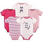 Hudson Baby® Size 3-6M 5-Pack  One of a Kind  Bodysuit in Dark Pink