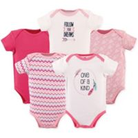 "Hudson Baby® Size 3-6M 5-Pack ""One of a Kind"" Bodysuit in Dark Pink"