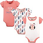 Hudson Baby® Size 12-18M 3-Pack Follow Your Dreams Short Sleeve Bodysuits in Pink
