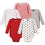 Hudson Baby® Size 6-9M 5-Pack Baby Bows Long Sleeve Bodysuits in Red