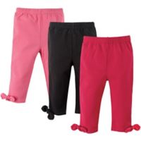 Hudson Baby® Size 6-9M 3-Pack Knot-Bow Leggings in Pink/Black