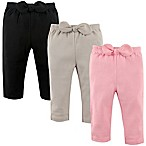 Hudson Baby® Size 3-6M 3-Pack Waist-Bow Pants in Pink/Black