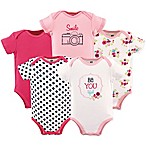 "Hudson Baby® Size 9-12M 5-Pack ""Be YOUtiful"" Bodysuit in Pink"