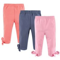 Hudson Baby® Size 9-12M 3-Pack Knot-Bow Leggings in Pink/Navy