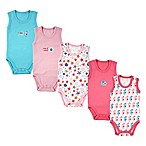 Luvable Friends® Size 6-9M 5-Pack Sleeveless Ocean Bodysuits in Pink