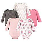 Hudson Baby® Size 3-6M 5-Pack Floral Long Sleeve Bodysuits in Pink
