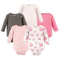 Hudson Baby® Size 18-24M 5-Pack Floral Long Sleeve Bodysuits in Pink