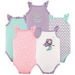 Hudson Baby® Size 9-12M 5-Pack Sleeveless Mermaid Bodysuits