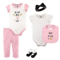 """Hudson Baby® Size 9-12M 6-Piece """"Heart of Gold"""" Layette Set in Gold"""