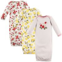 Hudson Baby® Size 0-6M 3-Pack Strawberry and Lemon Gowns