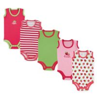 Luvable Friends® Size 9-12M 5-Pack Sleeveless Strawberry Bodysuits in Pink