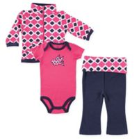 Yoga Sprout Size 18-24M 3-Piece Ikat Bird Jacket, Bodysuit, and Pant Set in Pink