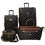 American Flyer Fleur De Lis 4-Piece Luggage Set in Black