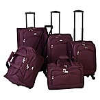 American Flyer South West 5-Piece Luggage Set in Wine