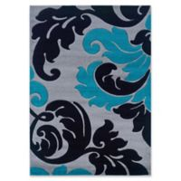 Linon Home Corfu Botanical 1'10 x 2'10 Accent Rug in Grey/Turquoise