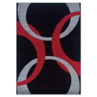 Linon Home Corfu Circles 1'10 x 2'10 Accent Rug in Black/Red