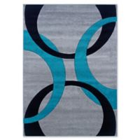 Linon Home Corfu Circles 1'10 x 2'10 Accent Rug in Grey/Turquoise