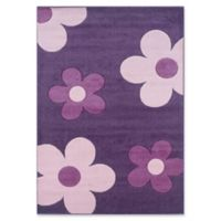 Linon Home Corfu Floral 1'10 x 2'10 Accent Rug in Purple/Pink