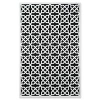 Momeni Platinum Geometric 5' x 7'6 Area Rug in Black