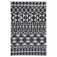 Jaipur Botella 5' x 7'6 Indoor/Outdoor Hand Hooked Area Rug in Navy/Cream