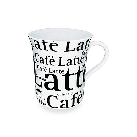 Mug With Cafe Latte Wording in White